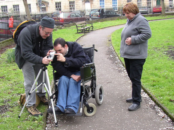 Richard working with service user, Clifton 2005